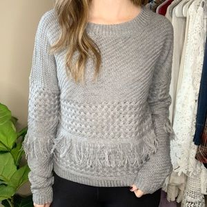 NWT BB Dakota Gray Fringe Crew Neck Sweater XS